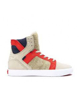 Chaussures SUPRA SKYTOP stone risk red white_08003-372-M front