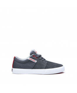 Chaussures SUPRA STACKS VULC II dk grey risk red white_58193-058-M front