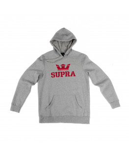 Sweat à capuche SUPRA ABOVE PULLOVER HOOD grey heather red red_104201-076